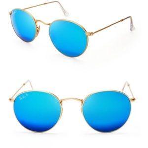Ray Ban Blue reflective sunglasses, polarized.